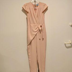 CECE Cap Sleeve Faux Wrap Jumpsuit light pink NWT